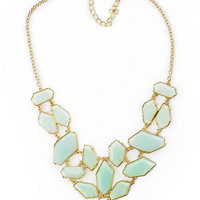 Acorn Street Stone Necklace in Mint