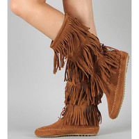Hippie Chickie Brown Fringe Boots