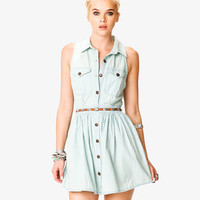 Stonewashed Denim Shirtdress w/ Belt | FOREVER21 - 2037725933