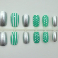 Artificial Nails  Stripes & Spots  by NextLevelNails on Etsy
