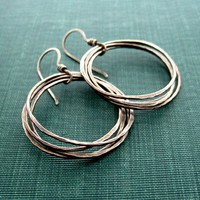 "Recycled Silver Hoop Earrings with Hammered Texture (Made-to-Order)-""Coastal Cliff Earrings-Medium """