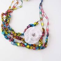 Crochet Necklace Rainbow Colors by Readesign on Etsy
