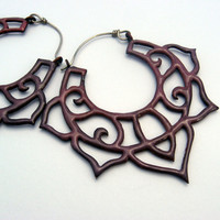 Enamel Lotus Earrings in copper and sterling choose your colour