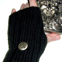 Ribbed Knit Fingerless Gloves with Bear Paw by SewcialGraces