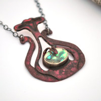 Red Patina Abalone Necklace, Copper Necklace,  Botanical Necklace, Statement Necklace, Hammered Jewelry
