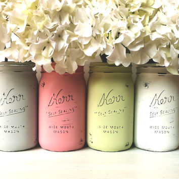 MOXIE - SPRING and Summer WEDDING and Home Decoration - Painted and Distressed  Mason Jars - Vase
