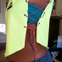 Neon Yellow Crop Tank Top with Open Braided Sides and Aztec Pocket Triangle