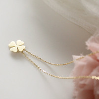 Four Leaf Clover Necklace- simle, cute, dainty jewerly- good luck
