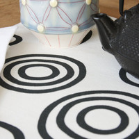 Placemats  Black and White Simple Circles  by toocutecustomcrafts