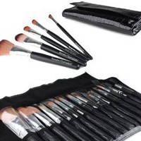 Bundle Monster 15pc Studio Pro Makeup Make Up Cosmetic Brush Set Kit w/ Black Faux Crocodile Case - For Eye Shadow, Blush, Eyeliner, Etc.: Beauty