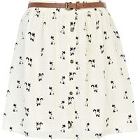 Cream cat print belted button through skirt