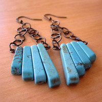 Turquoise Earrings Geometric Antique Bronze/Brass by RocoByRachel