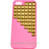 iPhone 5 hard Case Cover with bronze pyramid stud For iPhone 5 Case, iPhone hand case cover  d-7