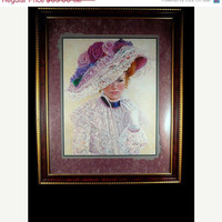 50% OFF SALE Home Interiors Victorian Lady Painted by  Bettie Hebert-Felder