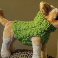 Dog Sweater Hand Knit Kiwi Cable X Small Wool by jenya2 on Etsy