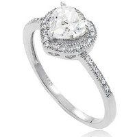 Alexandria Collection Sterling Silver Cubic Zirconia Heart Bridal and Engagement Ring: Jewelry: Amazon.com