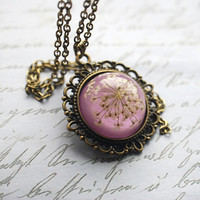 Purple Real Flower Necklace  03 Resin Jewelry Queen Anne's Lace Victorian Vintage Shabby Chic