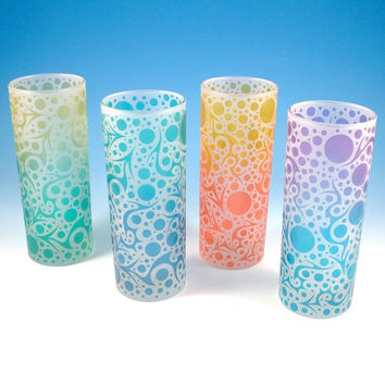 Frosted Highball Glasses  Bubbling Arrows  Custom by woodeyeglass