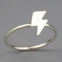 Lightning Bolt Ring Sterling Silver Free by FancyBrandRings
