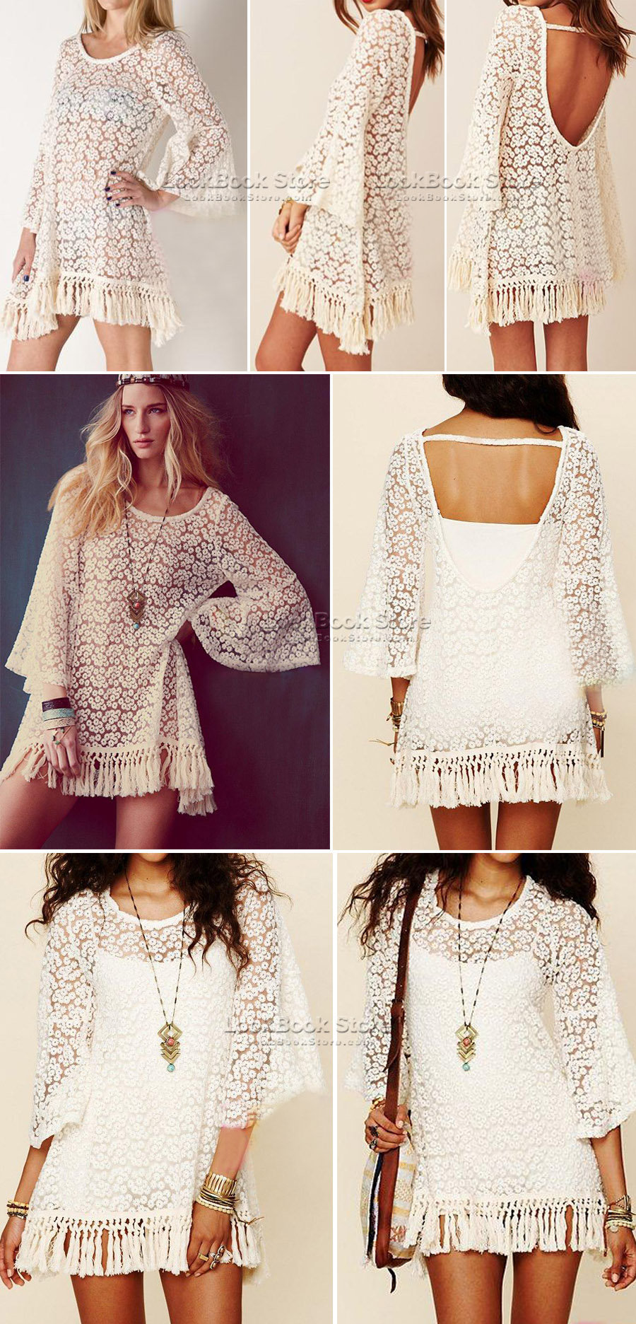 Lookbookstore Chic Crop Sleeve White Embroidery Floral Lace Fring Hem Crochet Mini Short Dress @lookbookstore #lookbookstore