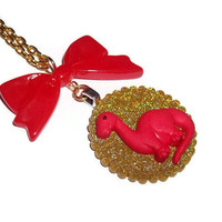 Kawaii Necklace, Red Dinosaur Glitter Necklace, Brontosaurus With Red Bow