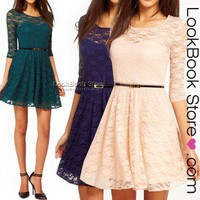 Lookbookstore omen Sexy Semi Sheer Mesh Heart Lace Insert Bodice Short Mini Skater Hot Dress @lookbookstore #lookbookstore