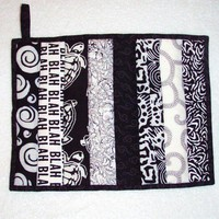 Quilted Pot Holder / Hot Pad  Oversized in Black by nhquiltarts