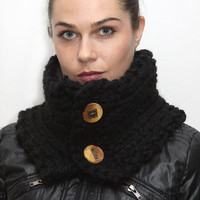 Bulky Black Unisex Wool Neck Warmer PURE BLACK Chunky by Solandia