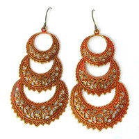 Orange Rust Chandelier Earrings, Metal Earrings,Orange Earrings, Antiqued Earrings, Lace Look, Metal Jewelry, Orange Jewelry