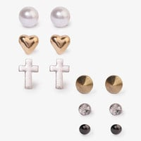 Heart Spike & Cross Stud Set | FOREVER 21 - 1030187773