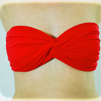 Beach Bandeau, Red Twisted Spandex, Strapless Bra, Bandeau Top, Bandeau Bikini