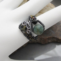 Gemstone Bead Wire Wrapped Adjustable Ring