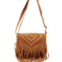 spiked-fringe-faux-suede-purse CAMEL RED - GoJane.com