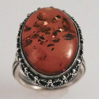 Amber and Silver Ring by FernandoJewelry on Etsy