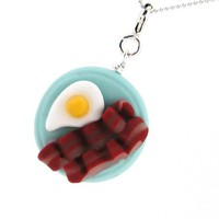 Bacon and eggs necklace by inediblejewelry on Etsy