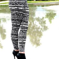 White Leggings/Tights - Tribal Print Leggings | UsTrendy