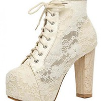 White Lace Chunky Heel Ankle Boots Shoes$50