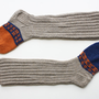 Hand knit grey wool socks for unisex adults