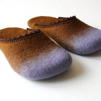 Violets for mom' Felted wool slippers HANDMADE TO ORDER
