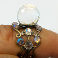Ring toe or finger clear fireball crystal ball by YOUniqueDZigns