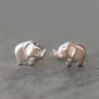 Elephant Stud Earrings in Sterling Silver with Diamonds