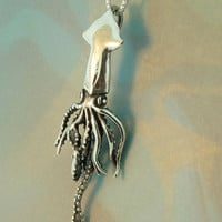Silver Squid Charm Pendant