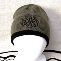 Celtic Shamrock Winter Hat Olive and Black Cap Trinity Knot Embroidery