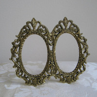 Vintage Ornate Gold Metal Picture Frame Oval Flourish Double Fleur de Lis FABULOUS