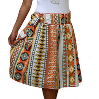 Spring Fashion Skirt / Colorful Tribal Orange Midi Skirt with Sash Belt / Ready to Ship / Last Stock Available