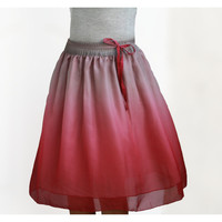 Autumn Ombre Pink and Grey Chiffon Midi Skirt - Ready to Ship