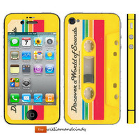 Iphone 5 4/4S Skin Cover - cassette - sticker decal