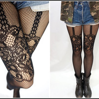 Sandysshop — Sexy Thigh Lace Fishnet Suspender Pantyhose /Stockings/Tights