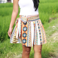 Free Shipping Tribal Skirt, Aztec Skirt, Tribal Mini Skirt with sash