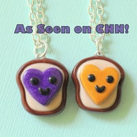 Heart Peanut Butter and Jelly Best Friends Necklaces Clay Miniatures